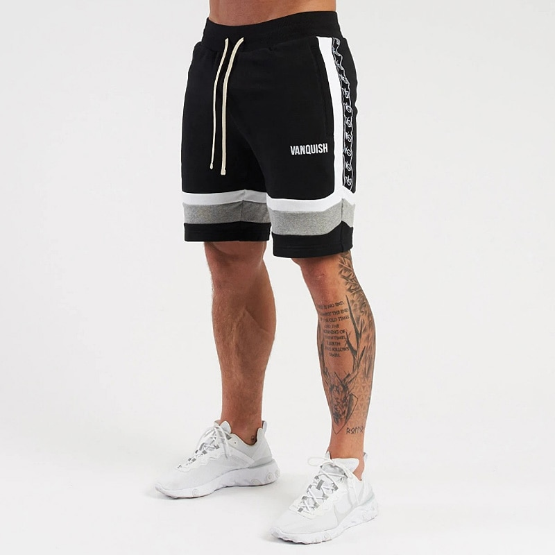 New Summer Men's Casual Shorts Gym Male Printing Drawstring Fitness Shorts Men Running Breathable Co
