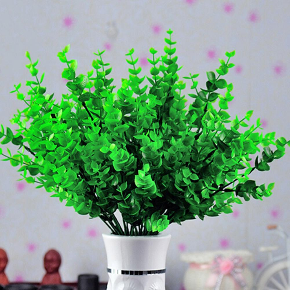 1 Pc 7-Branches Green Artificial Fake Plastic Eucalyptus Leaves Plant Home Decor