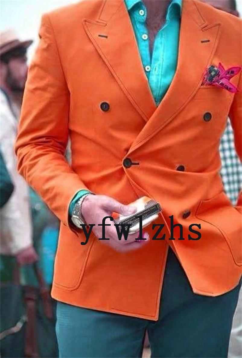 Handsome Double-Breasted Groomsmen Peak Lapel Groom Tuxedos  Men Suits Wedding/Prom/Dinner Best Blazer(Jacket+Pants+Tie) 105