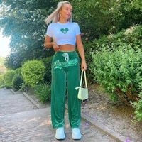 2021 autumn spring womens wide leg pants trendy green blue coffee high waist letter embroidery loose fit long velvet pants