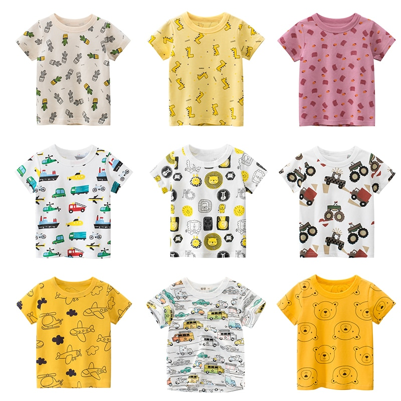 t shirt for boys summer kids clothes child t shirts cotton children tops clothing baby shorts print car machine infant tee Boys T Shirt For Summer Infant Kids Boy Girls Car T-Shirts 2-8 Years Cartoon Print Baby Clothes Cotton Toddler Children Clothing