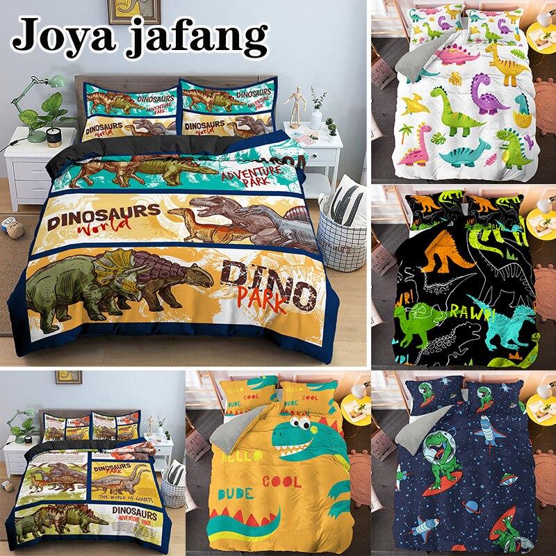 طقم سرير على شكل ديناصور كرتوني مطبوع ثلاثي الأبعاد ديكور فاخر للأطفال مثل غطاء المعزي مع وسادة