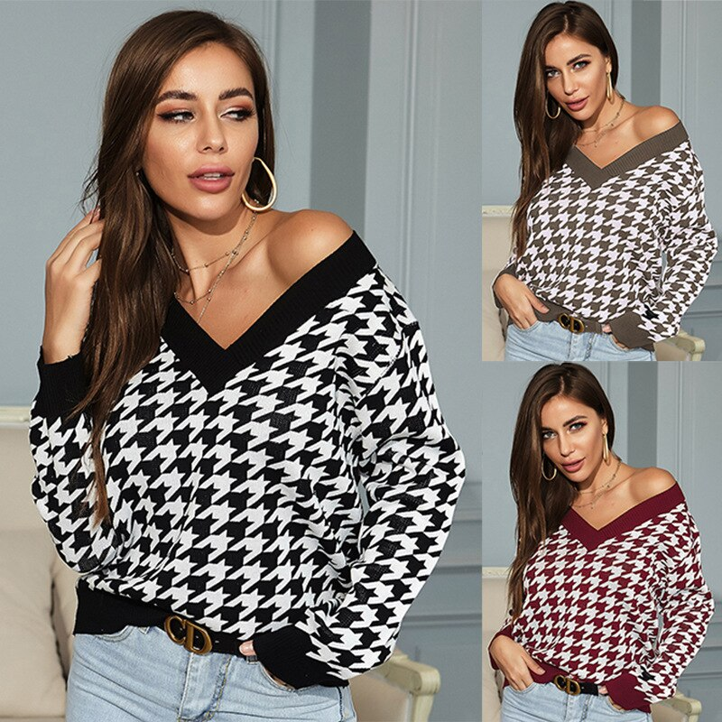 V Neck Knitted Pullover Sweater Women Long Sleeve Loose Pullovers Female 2021 Spring autumn Fashion Ladies Knit Jumper Tops sexy bandage lace up sweater women round neck long sleeve oversized loose knit pullover jumper sweater knitwear tops outwear