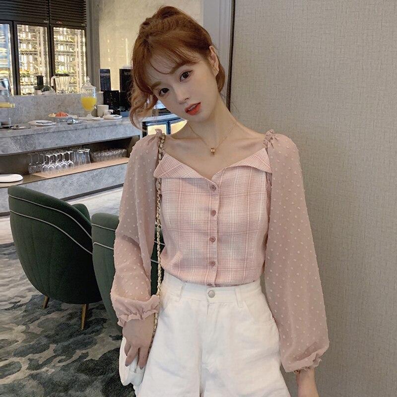 Shorts chic tops y blusas para mujer Estilo Dulce primavera entramado patchwork botón slash cuello manga puff de chifón ropa de mujer
