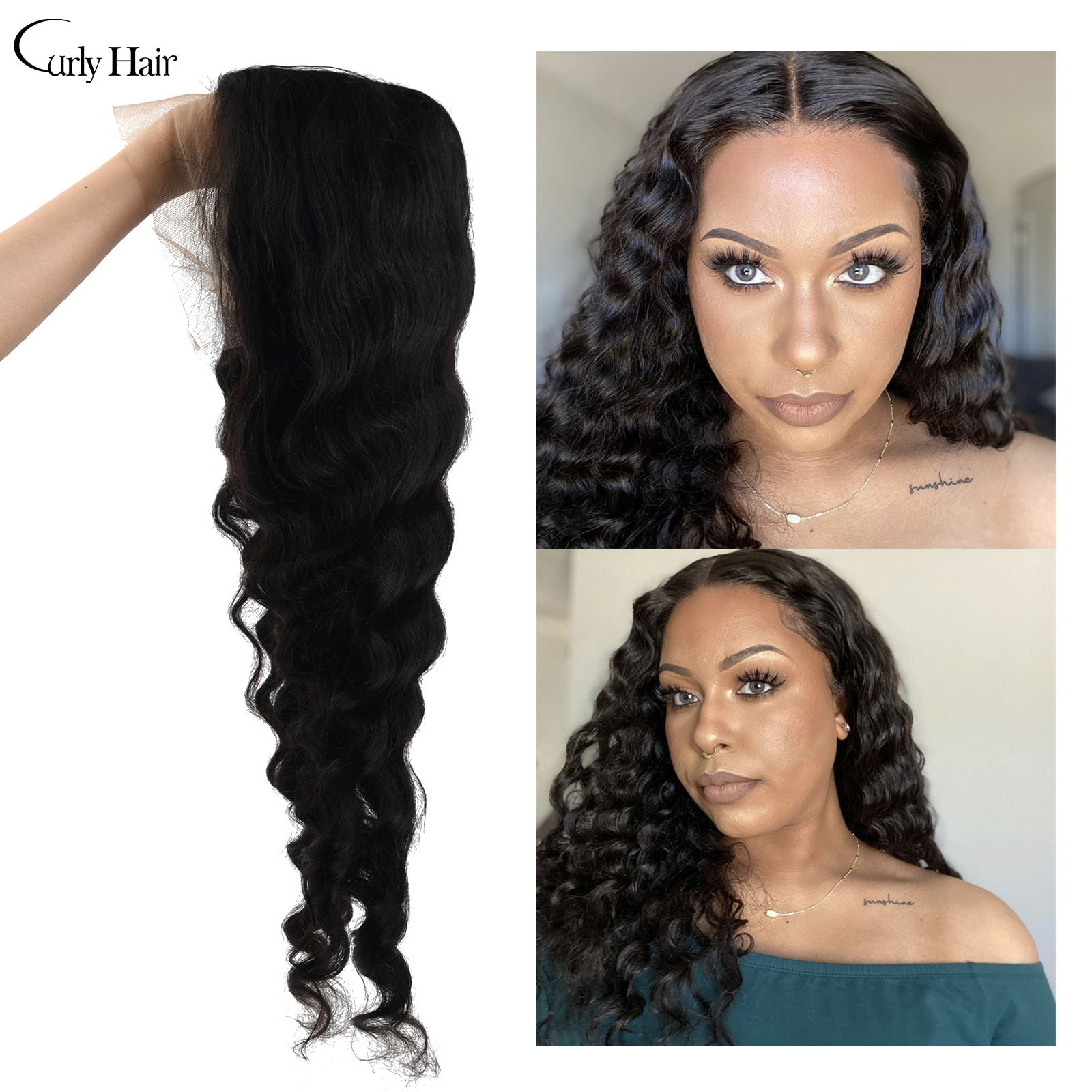T-Part Deep Wave Lace Closure Wig 24 inches Brazilian 100% Human Hair Wigs For Women Natural Color With Baby Hair 150% Density