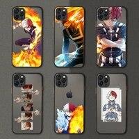 anime shoto todoroki boku no phone case black transparent matte for iphone 7 8 11 12 s mini pro x xs xr max plus cover shell