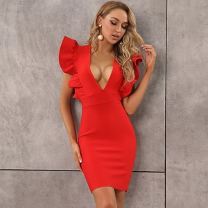 Hot Sale Women Summer Style Sexy V Neck Ruffles Black Red Bodycon Bandage Dress 2020 Designer Fashion Party Dress Vestido