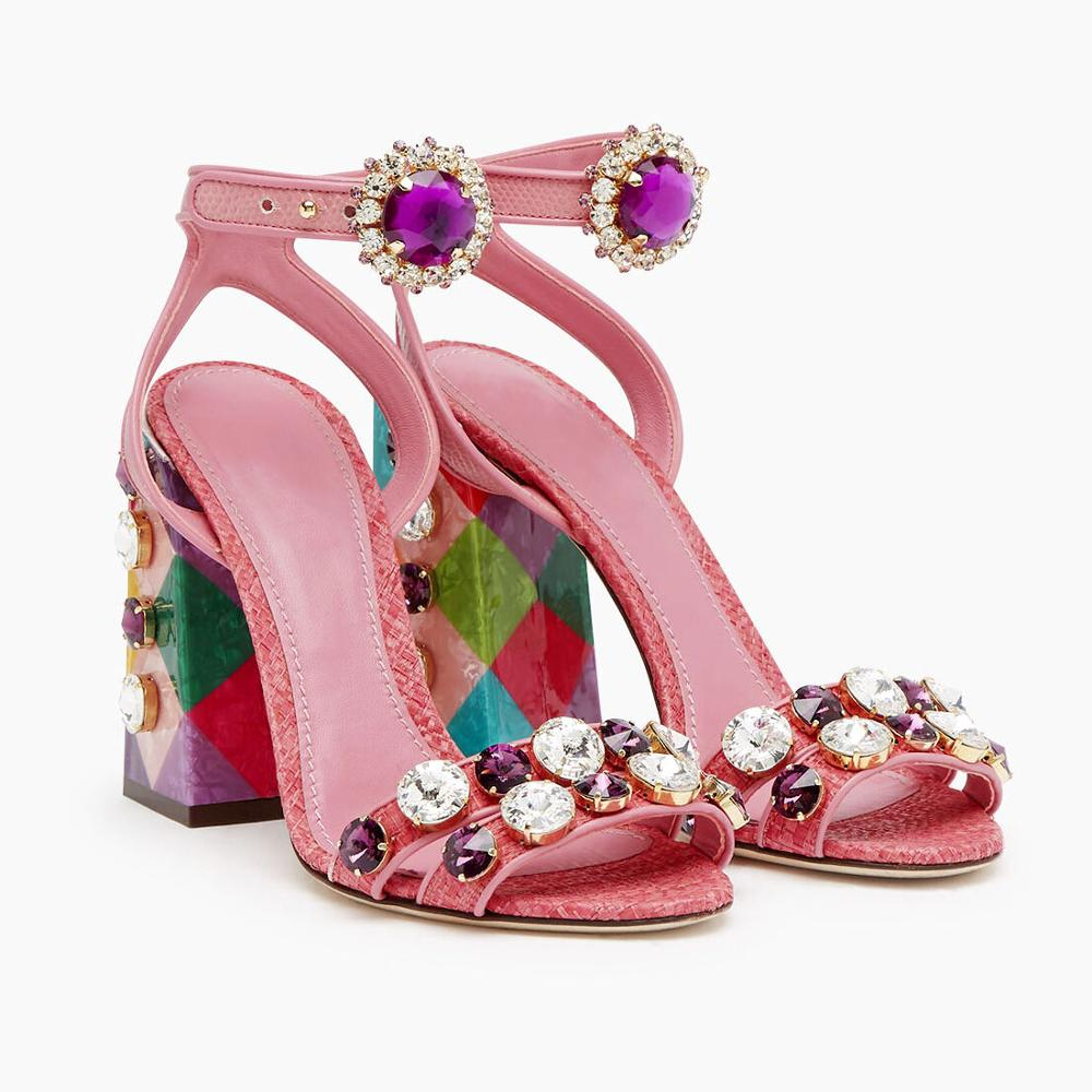 New Women Sandals Crystal Square High Heel Platform Pink Peep Female Dress Ladies Shoes Pearl Party Zapatos De Mujer