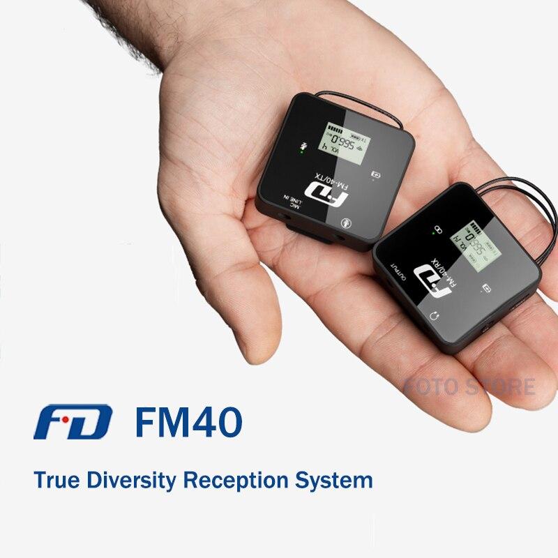 ميكروفون لاسلكي مصغر FD FM40 مع نظام استقبال التنوع الحقيقي ميكروفون لافالير لكاميرا الفيديو الرقمية ذات العدسة الأحادية العاكسة