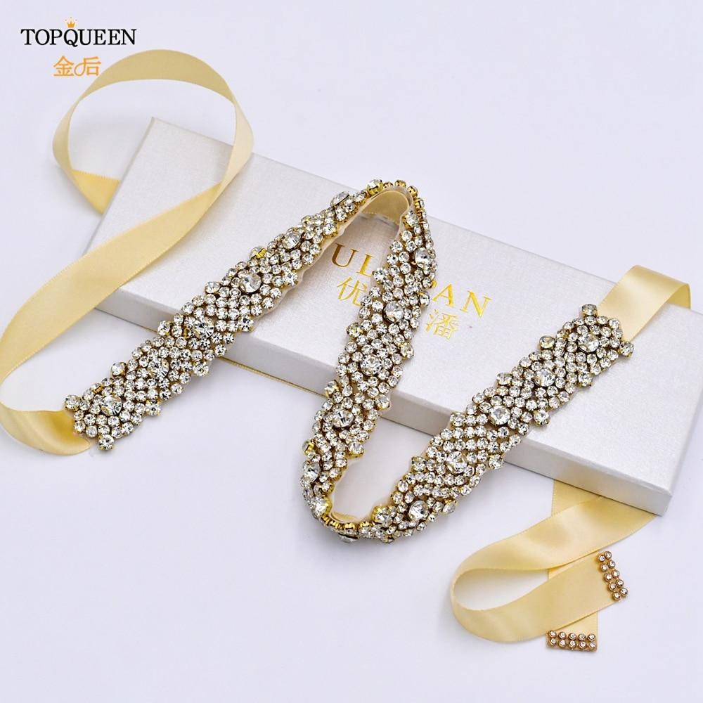 TOPQUEEN S28B-G Wedding Belt Champagne Gold Rhinestone Waist Belt Bridal Belts with Crystal Cocktail Dresses Belt Woman Belts