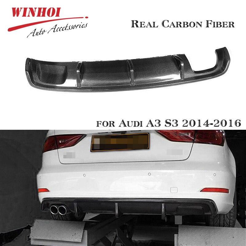 Fibra de carbono Real coche para difusor de parachoques trasero para Audi A3 S3 2014-2016 labio trasero pequeño envolvente Spoiler trasero pala parachoques