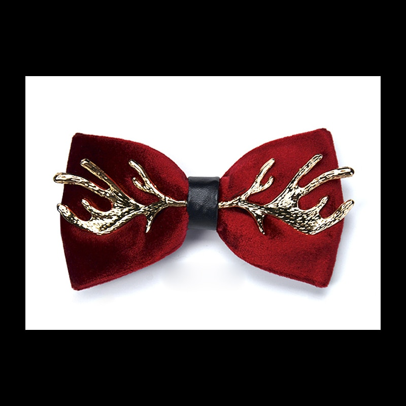 High Quality 2020 New Velvet Bow Tie with Metal 100% Zinc Alloy Elk Antlers Smooth Butterfly Solid Wedding Papillon Bowtie