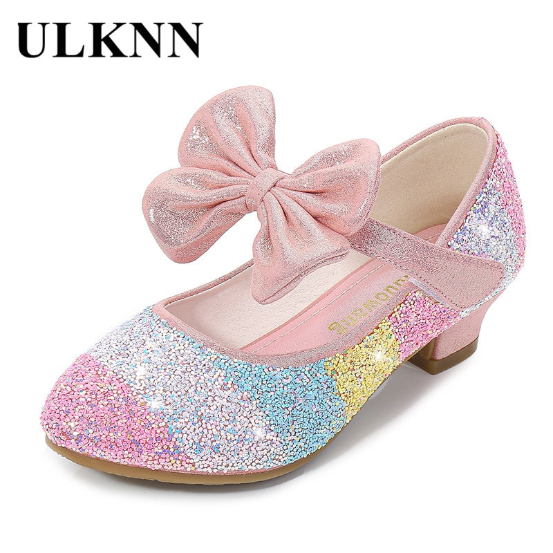 Girls' Leather Shoes Princess 2021 CHILDREN'S Shoes round-Toe Soft-Sole Big girls High Heel Princess Crystal Shoes