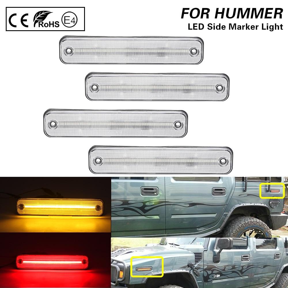 For 2003-2009 Hummer H2 Clear lens LED side marker light lamp Front+Rear Amber/Red 4PCS