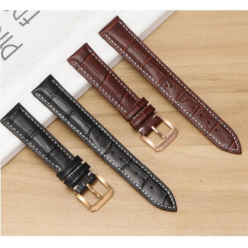 Bracelet de montre en cuir Tissot, bracelet de montre en peau, noir brun blanc pour DW pour Casio pour IWC, 16mm 18mm 20mm 22mm 23mm 24mm