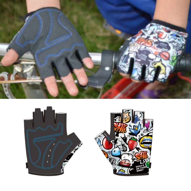 Summer Kids Cycling Gloves Anti-sweat Anti-shock Mountain Bike Riding Outdoor Sports Fitnes Children