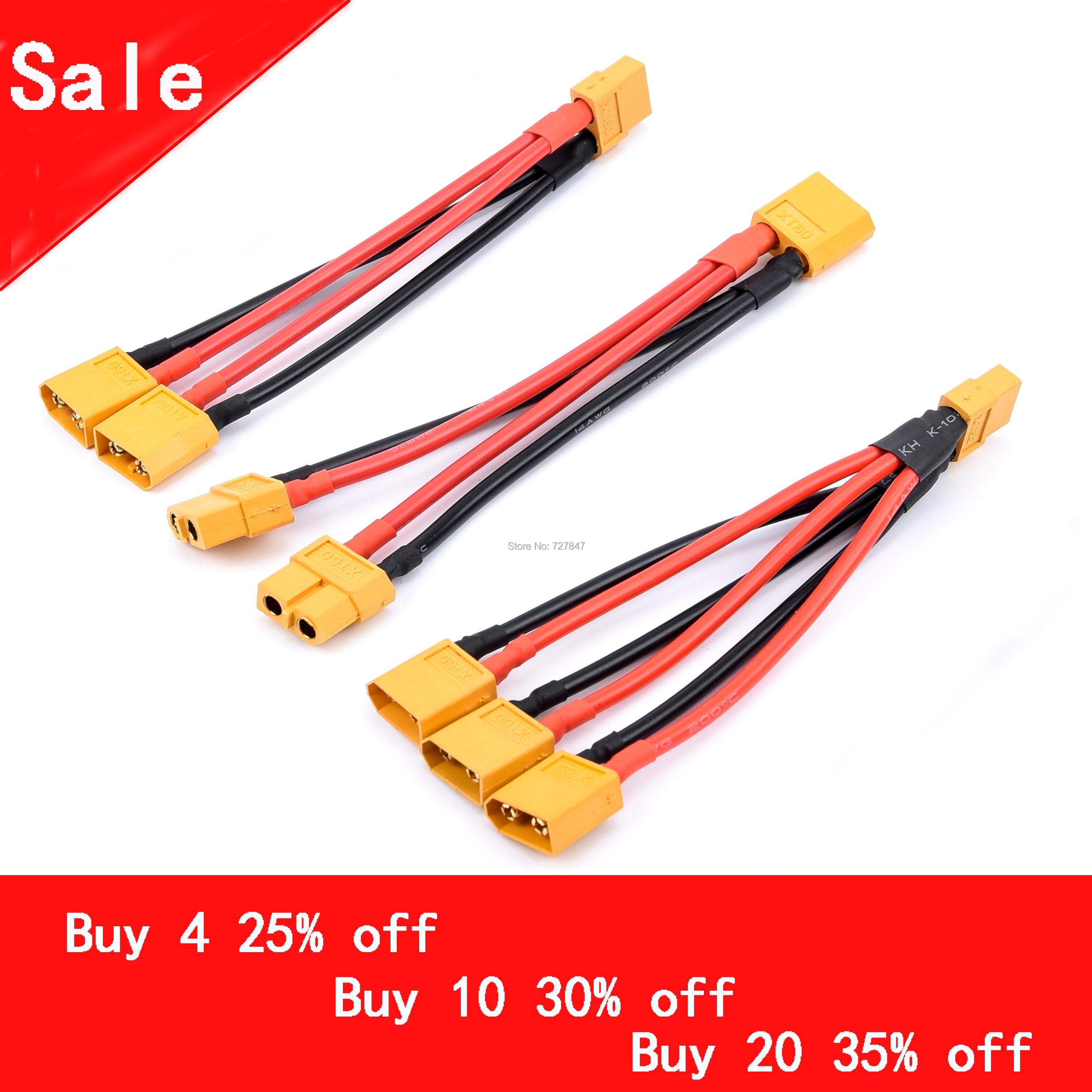 Conector de batería paralelo XT60, Cable macho/hembra, doble extensión, divisor Y/Cable de...