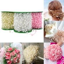 5 mètres ligne de pêche perles artificielles perles chaîne guirlande fleurs mariée diadème décoration de mariage événement fête fournitures Beige/W
