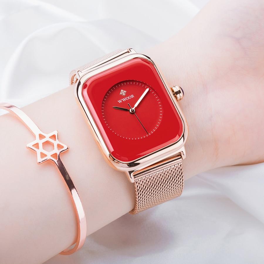 WWOOR Fashion Women Square Watch 2020 Top Brand Luxury Rose Gold Ladies Wrist Watch Dress Quartz Clock Female relogios feminino enlarge
