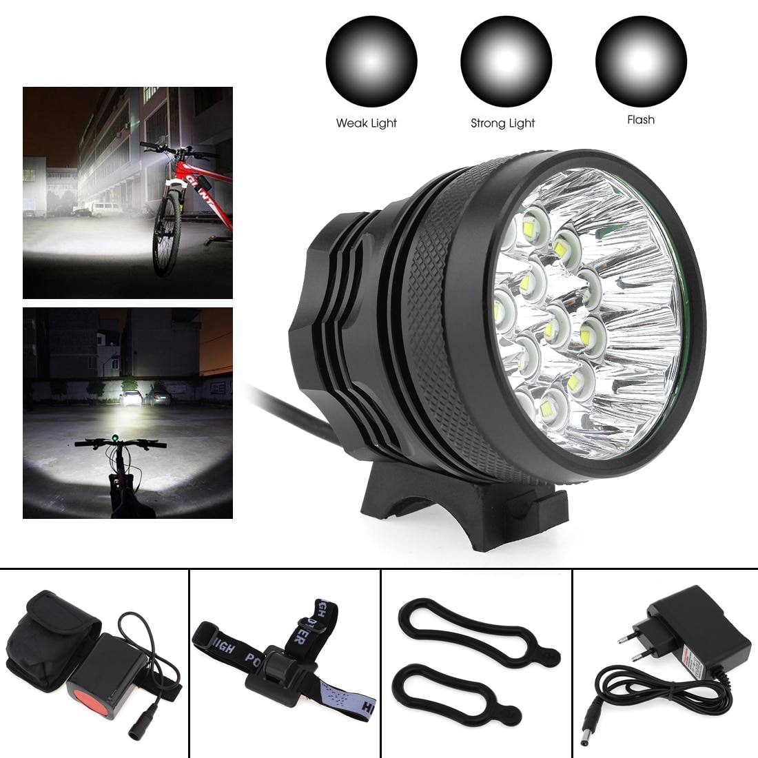 SecurityIng Bicycle Headlights  XM-L T6 LED Bicycle Lamp Bike Light Headlight Cycling Torch with 8.4V 6400mAh Battery Set