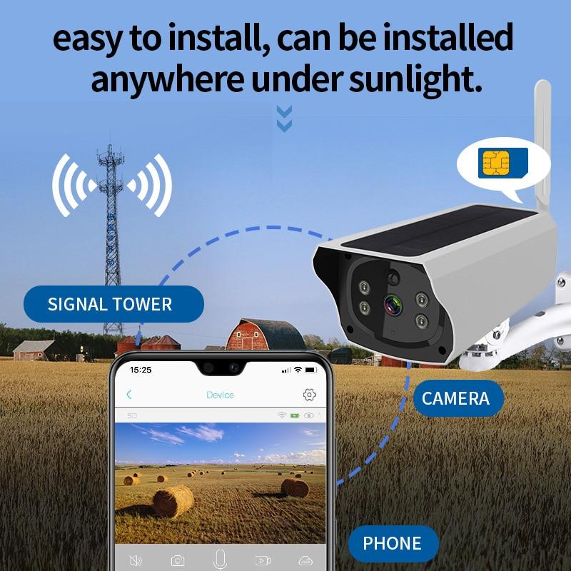 4G SIM Card IP Camera Solar Panel Battery 1080P 2M HD Wireless Outdoor Waterproof Security Surveillance Camera P2P Two Way Audio
