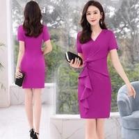 women summer fashion short sleeve v neck a line slim rose black red bright pink elegant coctail dress 9229