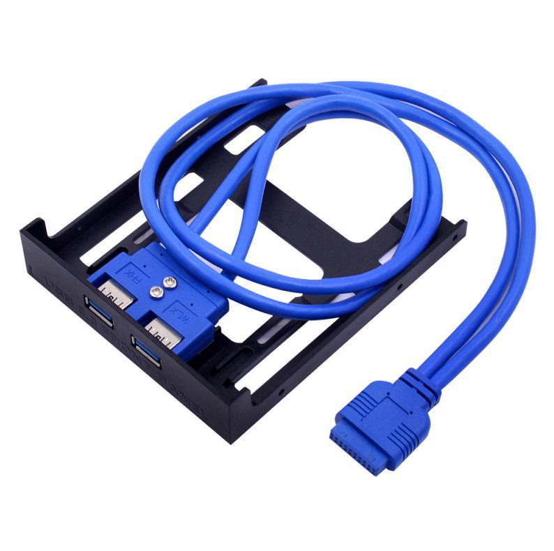 Disquete USB 3,0, placa de pruebas frontal, 3,5 pulgadas, 19pin, giro USB3.0, doble puerto, DIY, expansión One plus Two