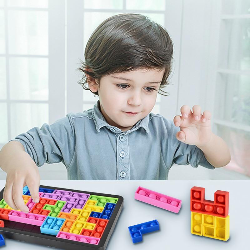 Colorful 3d Tangram Puzzle Toys Tetris Decompression Toys Compression Toys Bubble Sensory Toys Fingertip Poppits Bubble Toys