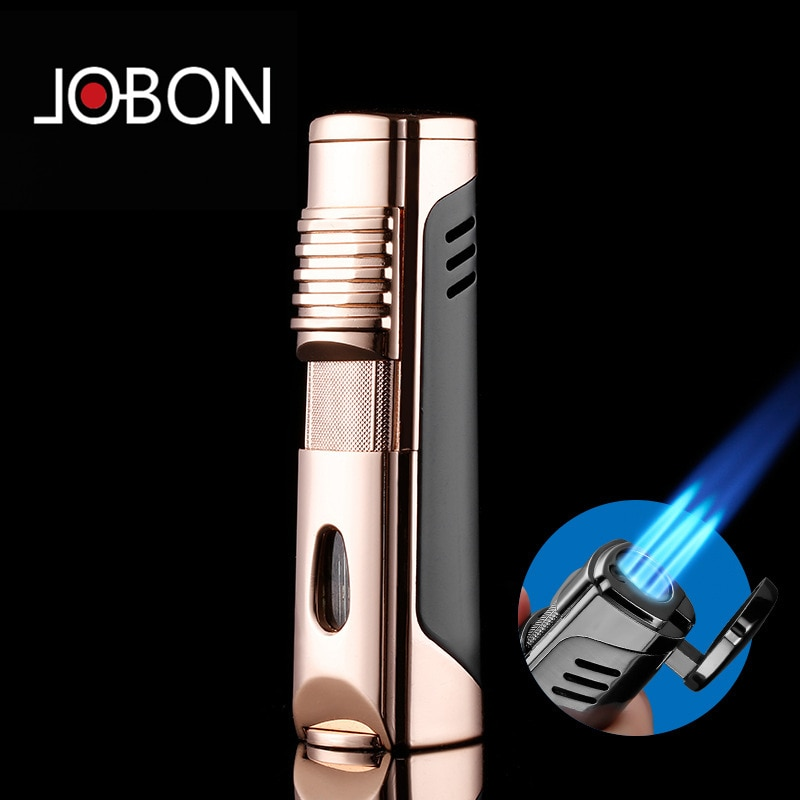2020 Jobon Metal Triple Torch Gas Window Lighter 1&3 Jet Gas Cigar Three Turbo Windproof Powerful Spray Gun Kitchen Pipe Lighter enlarge