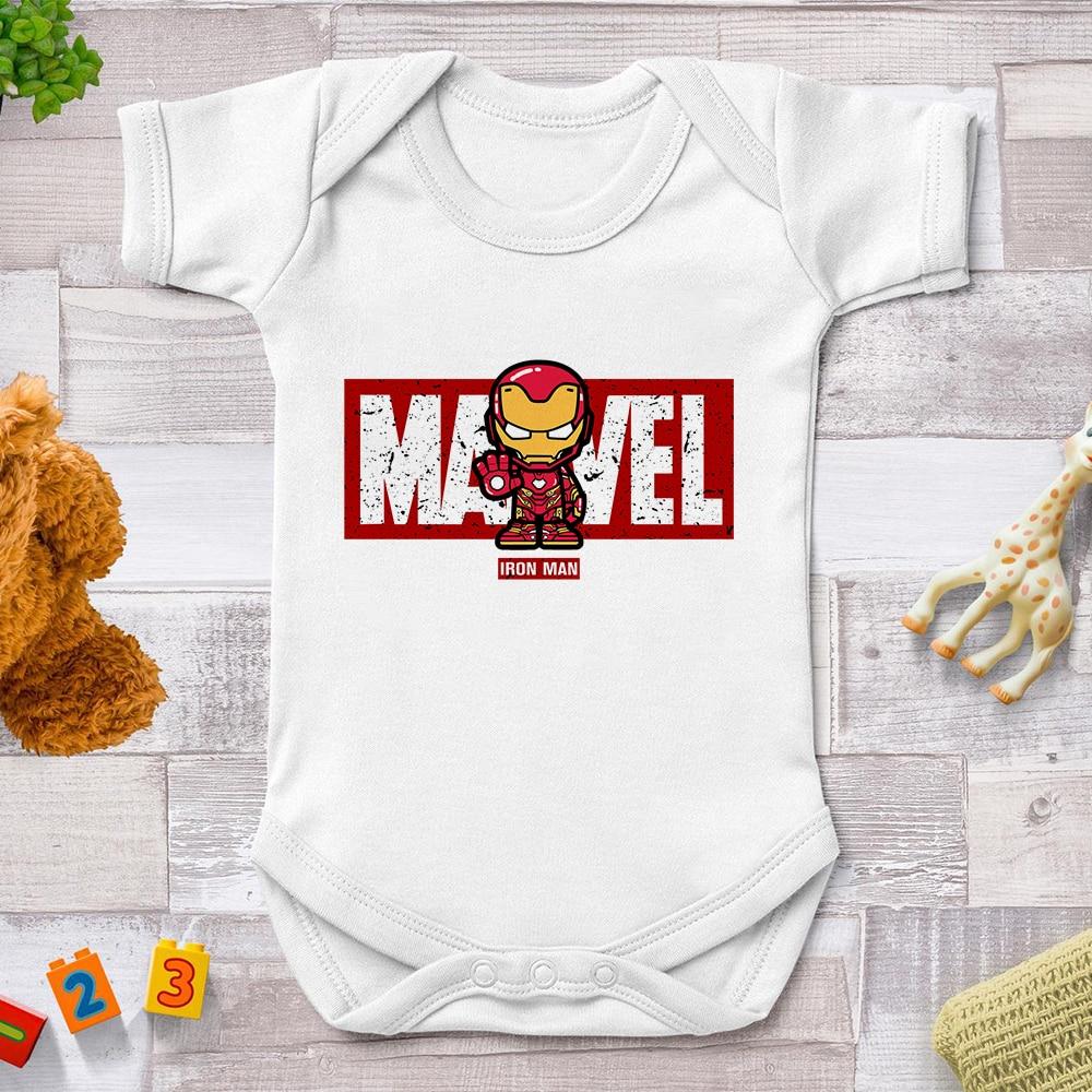Newborn Clothes Casual Harajuku Marvel Avengers Tony Stark Iron Man Print Baby Romper Short Sleeve Toddler Jumpsuit 0-24M