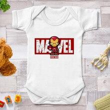 Newborn Clothes Casual Harajuku Marvel Avengers Tony Stark Iron Man Print Baby Romper Short Sleeve T
