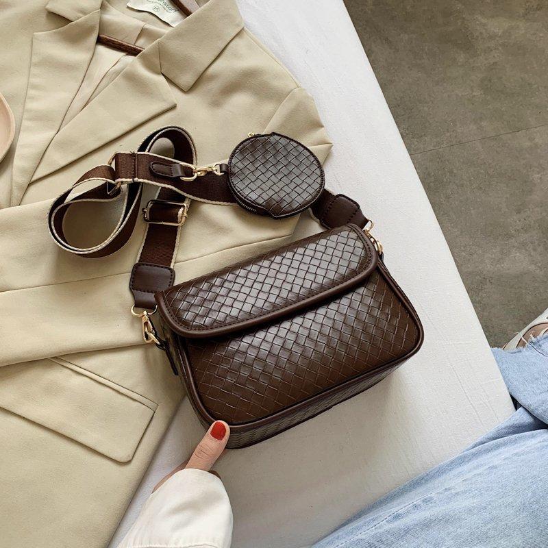 حقيبة كتف نسائية بحزام عريض ، حقيبة يد ، جلد صناعي ، عتيق ، أسود ، جيب ، 2020