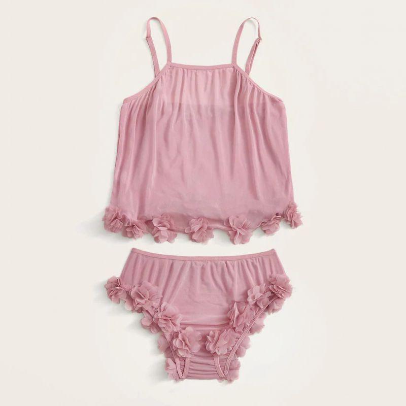 Pijama rosa de malla transparente para mujer, ropa interior, camisón de encaje sin mangas para mujer, pijamas de algodón para mujer