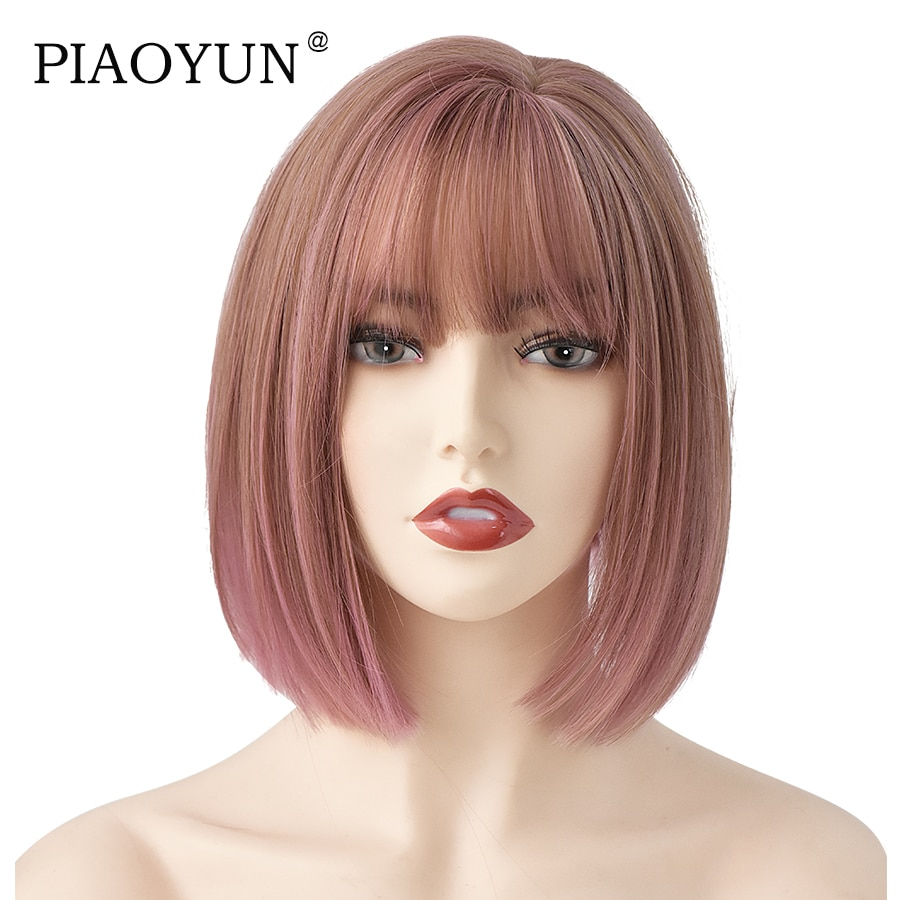 PIAOYUN WIGS Bobo With Bang Synthetic Pink 12 Inches Wig For Women New Style Hot Sale Natural Wig