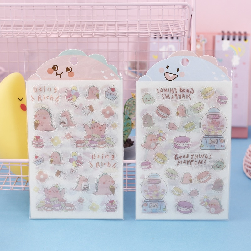 6 unids/set lindo Kawaii Macaroon dinosaurio Washi pegatina de papel para Scrapbooking Diy diario pegatina papelería regalo pegatina Set