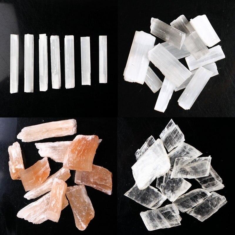 30 г/50 г/100 г натуральный белый селенит грубые палочки Минеральные с лечебным действием, образцы кристалл палочка подвеска неправильной формы делая камень