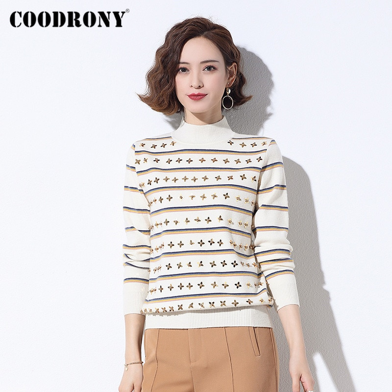 COODRONY Brand Autumn Winter Floral Jumpers Female Casual Long Sleeve Knitwear Slim Pullover Sweaters For Women W1097 new 2015 autumn winter baby sweaters children clothing kids sweaters baby boys casual knitwear pullover