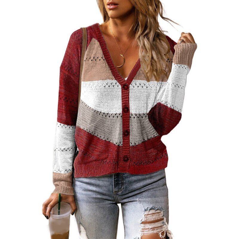 Women Long Sleeve Sweater V-Neck Button Color Block Stripes Hollow Out Knit Tops enlarge