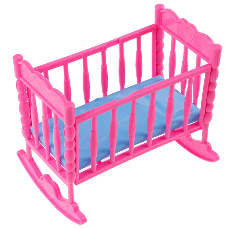 Rocking Cradle Bed Doll House Toy Furniture For Kelly Barbie Doll Accessories Girls Toy Gift Baby Shower Gift