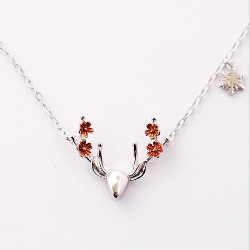 Модные милые с изображением оленьих рогов пятнистого оленя животных женский ключица цепочка ожерелье для женщин 925 стерлингового серебра ю...
