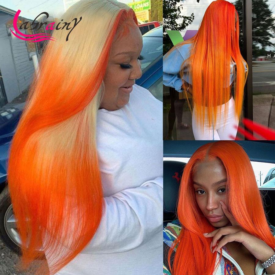 13x4 highigh Ginger HD прозрачные кружевные передние парики из человеческих волос, женские парики с Омбре 613 блонд на сетке, фронтальный парик, полный ...