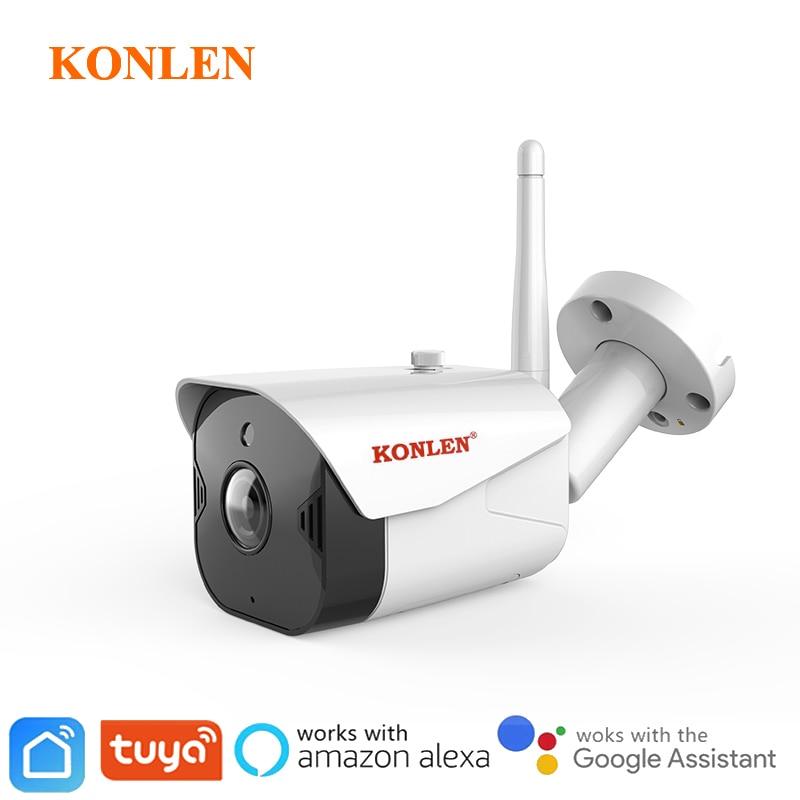 Konlen google tuya câmera wi fi ip bala ao ar livre vida doméstica inteligente alexa 1080 p hd de áudio à prova dwireless água sem fio vigilância segurança