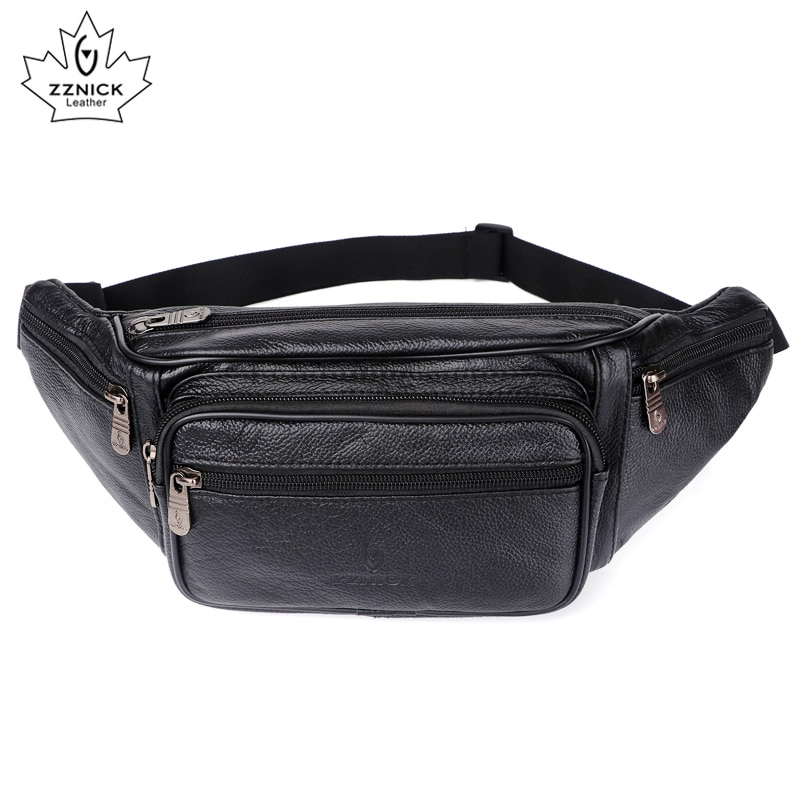 waist pack shoulder men messenger bags crossbody bags genuine leather men bag belt sling bag male phone pouch flap zznick ZZNICK 2020 Genuine Leather Waist Packs Men Waist Bags Fanny Pack Belt Bag Phone Bags Travel Waist Pack Male Small Waist Bag