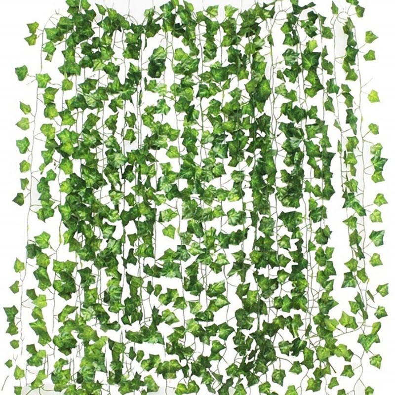 12pcs 2M Ivy green Fake Leaves Garland Plant Vine Foliage Home Decor Plastic Rattan string Wall Decor Artificial Plants