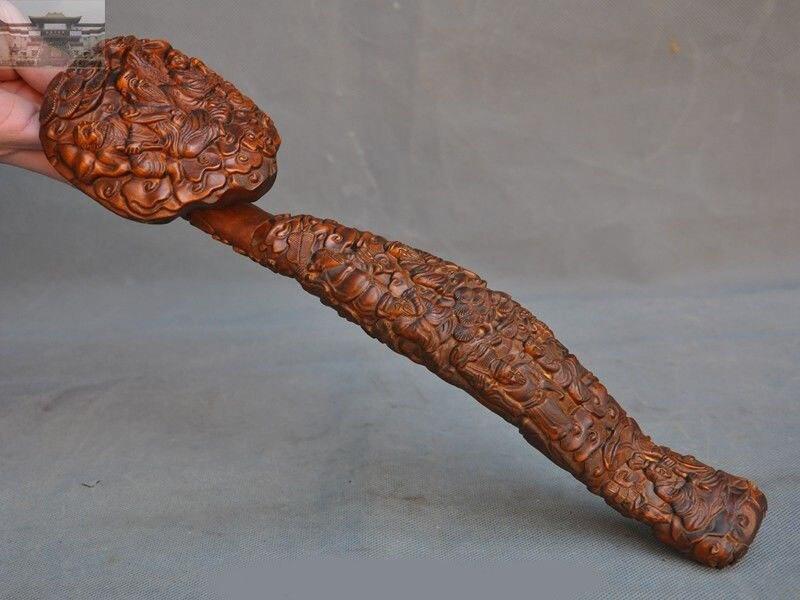 christmas Old Chinese Boxwood Wood Hand Carved Pine Longevity life god old man Statue Ruyi New Year