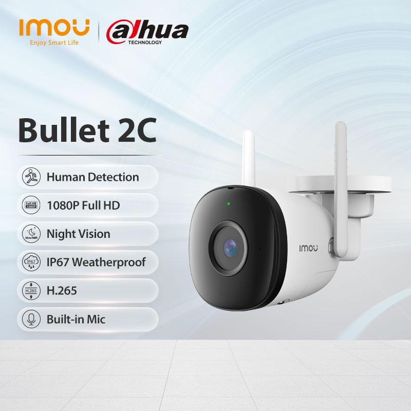 Dahua imou Bullet 2C 1080P Wi-Fi Camera Dual Antenna Outdoor IP67 Weatherproof Audio Recording Camera AI Human Detection Camera