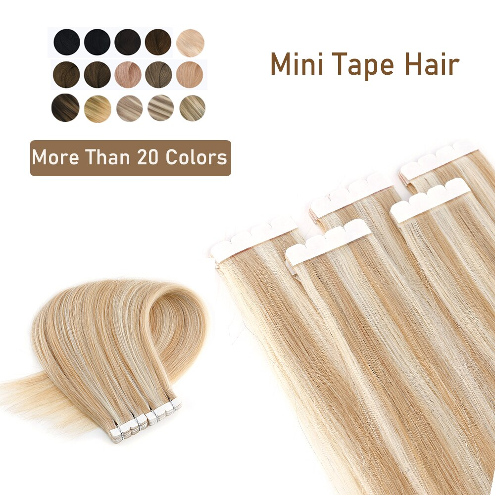 ZURIA Mini Tape In Hair Extensions Machine Remy Natural Hair Extensions Human Hair Straight 20 Inchs Seamless Adhesive Skin Weft