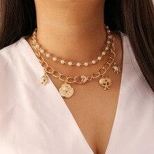 Collar de dos caras para mujer, Gargantilla de Color dorado con moneda de perla, collar con cadena de estrella de mar, Collares de moda para chica, regalo de fiesta