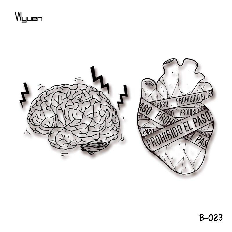 Wyuen Sick Heart Temporary Tattoo Stickers Original Trembling Brain Fake Tattoos for Adults Body Art Waterproof Tatoo B-023