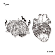Wyuen coeur malade autocollants de tatouage temporaire Original tremblement cerveau faux tatouages pour adultes Art corporel étanche Tatoo B-023